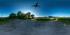 Airplane (HamburgerJung) Tags: germany deutschland hamburg fuhlsbüttel airport airplane flugzeug planet panasonicgm5 hugin walimex equirectangular