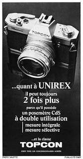 Topcon Unirex camera advertisement.