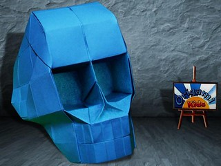 Origami Skull with 3D Eye Sockets by Hojyo Takashi