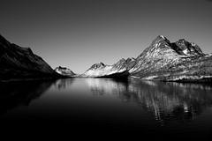 Senja (maekke) Tags: norway senja tromso tromsø reflection nature bw noiretblanc lake mountain mountains canon eos6d travelling tourist
