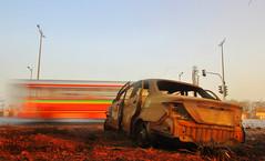 Not so long ago... (Debmalya Mukherjee) Tags: signofthetimes flickrfriday ruins wrecked damaged accident bus best mumbai highway debmalyamukherjee 1018mm