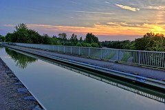 Evening aqueduct (jiffyhelper) Tags: aqueduct sunset sky canal water grafton street trees clouds apple iphone se towpath milton keynes buckinghamshire bradwell reflection
