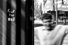 Troubled (George Stastny. Photographer.) Tags: street streetphotography streets monochrome blackandwhite bnw bw edmonton alberta canada getolympus olympus epl5 blur blurred blurry