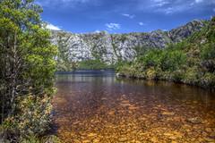 Crater Lake (pbr42) Tags: australia tasmania nationalpark cradlemountain cradlemountainnationalpark outdoor sky water h2o lake mountain crater trees tannins nature