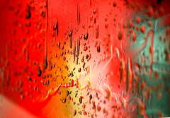 ABSTRACTS series -rain on car (Wilamoyo) Tags: abstracts objectsabstract dvd red color beauty art artistic vibrant yellow green water rain droplets drips smear form shape