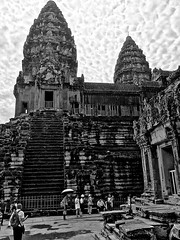 The sky of God Vishnu_IMG_4482n (AchillWandering) Tags: sky cambodia angkor wat blackandwhite bw temple vishnu siem reap hinduism stair