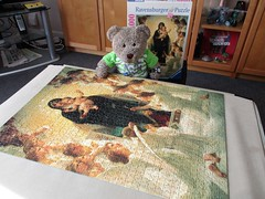 Baby Jesus an' his fan club (pefkosmad) Tags: jigsaw puzzle hobby leisure pastime complete used secondhand art fineart painting ravensburger theholyvirginmarysurroundedbyangels williamadolphebouguereau