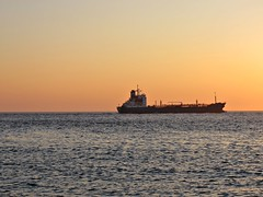 Ship in evening light (arjenvanveldhuisen) Tags: zeeland zee walcheren westerschelde westkapelle ship eveninglight sunset noordzee