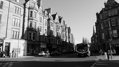 Bruntsfield, spring evening 02 (byronv2) Tags: blackandwhite blackwhite bw monochrome architecture victorian victorianarchitecture bruntsfield sunny sunlight sunshine shadow shadows tenement bruntsfieldplace edinburgh edimbourg scotland spring bus lothianregionaltransport publictransport 45 road