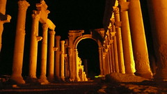 (Monumental Arch of) Palmyra's Last Stand (Eye of Brice Retailleau) Tags: beauty colourful colours composition earth scenery scenic extérieur unesco landscape stone paysage pierre middleeast syria syrie palmyra palmyre ancient architecture silkroad columns ruins syrian war arch arche night nightscape nighttime light peace gold yellow wide angle travel backpacking backpacker backpack