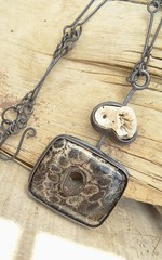 Fossil Black Coral and Found Coral (annacmei) Tags: fossil coral black natural beauty copperjewelry coppernecklace copper pendant annamei rustic boho artisan one kind ann
