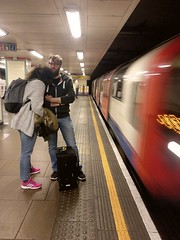 coming through - anmiation (n.a.) Tags: central line london mile end couple waiting train passing platform tube underground motion animation gif