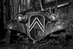 Bruised and battered (Dennis van Dijk) Tags: urbex ue eu europe germany urban exploration car cars classic bw blackandwhite black white vintage retro forest precious beauty moody rust lost found decay derelict abandoned rotten left behind american citroen oldtimer