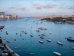 Valletta: View of Marsamxett Harbour and Manoel Island from the Terrace of the Waterfront Hotel. (Jon Fitton) Tags: sliema valletta malta marsamxettharbour manoelisland lightroom watrfronthotel tassliema mt