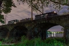 Over the River (Dan A. Davis) Tags: conrail csao ns norfolksouthern conrailsharedassets morrisville pa pennsylvania nec northeastcorridor gp382 wpmo33 freighttrain locomotive train railroad