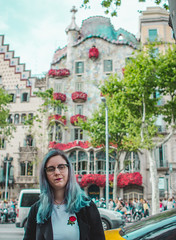 Sant Jordi (annathirteen) Tags: santjordi street flower rose girl blue catalonia tradition catalan canon photoshoot bcn barcelona vic barna outdoor bridge explore discover city town road roses