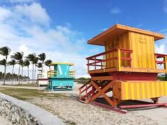 Colourful lifeguard booths