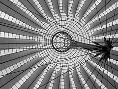 Sony Center Roof (RobertLx) Tags: architecture modern geometric skylight rooftop ceiling lines roof building berlin sony germany europe city atrium monochrome bw circle glass potsdamer abstract