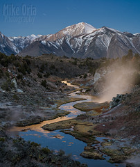 Hot Creek (mikeSF_) Tags: mikeoria pentax hotcreek sierra mountains night moon mammoth lakes lake dam reservoir water river creek stream steam vent volcano longexposure nightscape pentax645z 645 645z dfa90 pano mikeoriaphotography wwwmikeoriacom sierras sierranevada snow snowcap nevada