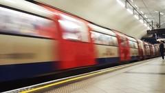 Rush on the line. (Joseph Pearson Images) Tags: flickrfriday rush underground tube subway metro london embankmentstation motionblur