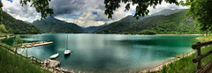 Lake of Ledro (Roberto Rubiliani) Tags: acqua water montagne mountains panorama natura nature italia italy iphone iphone5s rubiliani robertorubiliani cielo sky nuvole clouds lago lake travel viaggio barche boats