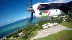 Take off from Praslin airport (vic_206) Tags: goprohero5 seychelles praslin praslinairport fromtheair fromwindowseat dch6twinotter airseychelles sea mar