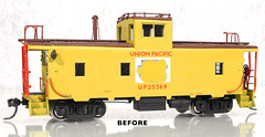OMI UP 25369 CA-6 Caboose BEFORE (Twin Ports Rail History) Tags: jeff lemke trains inc ho scale omi overland models up union pacific brass ca6 steel caboose model train professional services custom painted painting weathering