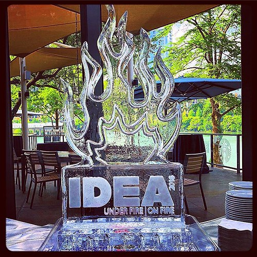 A cool #icesculpture for a hot #party @hyattaustin #fullspectrumice #logo #thinkoutsidetheblocks #brrriliant - Full Spectrum Ice Sculpture