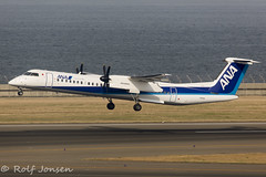 JA858A De Havilland Canada DHC 8-402 ANA Wings Nagoya Centrair airport RJGG 06.04-18 (rjonsen) Tags: plane airplane aircraft aviation airside airport airliner takeoff departure turboprop bombardier