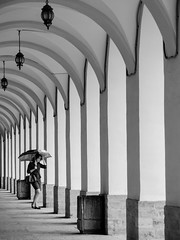 In the rhythm (pilot3ddd) Tags: stpetersburg stpetersburguniversity mendeleevsksyaline archs streetphoto streetportrait girl umbrella blackwhite monochrome olympusomdem5markii olympusmzuiko40150mm