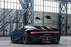 Bugatti Chiron Factor (nike_747Original) Tags: naksphotographydsign bugatti chiron factor supercar hypercar super hyper car sportscar sport class exotic rare luxury color auto limited edition black carbon fiber stairs metal glass bricks hangar factory industrial manufactured barn shed bolts grunge duo tone exhaust pipes reflection supersport hypersport nike747 coupe quadturbocharged w16