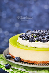 Homemade delicious key lime cheesecake decorated with fresh blueberries (Katty-S) Tags: bake bakery baking blueberry key lime birthday green blue white cake cheese cheesecake confectionery cream creamcheese crust berry citrus lemon decoration decorated delicious dessert food fresh fruit glaze glazing holiday homemade mousse pastry portion souffle sweet tart festive closeup pie