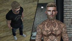 { Hunter } ({ Max Hades }) Tags: head bento shape body tattoo sneakers jeans glasses tshirt beard eyes hair base found letistattoo zoom mxhades signature catwa aviglam modulus legal insanity swallow clef de peau