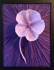 Parasol flower, mounted (uqbarryn) Tags: tissue organic mounted crumpling origami paper flower
