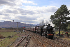1264 + 45699 - Kingussie (Andrew Edkins) Tags: doubleheader 1264 45699 galatea travel trip railwayphotography thegreatbritainxi mainlinesteam scotland uksteam sun geotagged canon jubilee b1class lner lms stanier landscape railtour excursion railwaystation highlands
