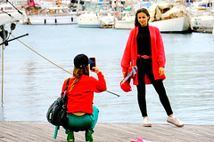 Stay there! (Fnikos) Tags: port puerto porto harbour harbor sea water waterfront boat sailboat people model photo outdoor