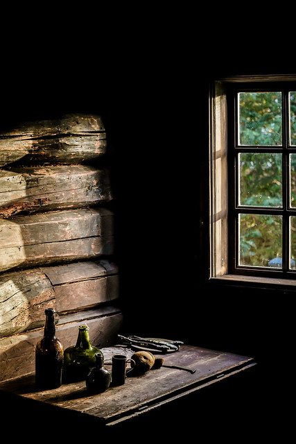 Nice light in an old cabin