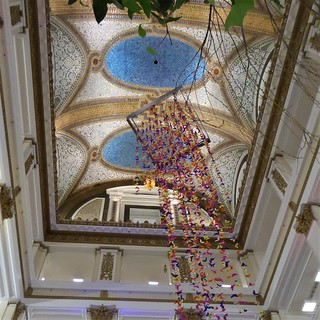 Chicago, Macy's Spring Flower Show, Once Upon Springtime, Attrium Tiffany Mosaic Ceiling with Butterfly Mobile