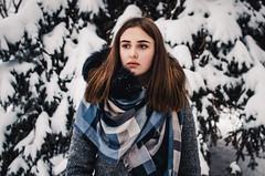 Daria Gladchenkova (ivan_volchek) Tags: winter cold outdoors snow nature people portrait leisure sky fall wear season landscape park beautiful eyes hairstyle girl coat shawl toning
