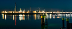 Lights in the Europoort (mesocyclone70) Tags: night panorama longexposure water industry reflections refinery nightscape bluehour blue rotterdam europoort port harbour chemical holland netherlands