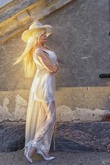 Golden hair (DZ-fotografia (8.4 Million views, Thx)) Tags: white golden blonde hair long dress hat heels woman lady