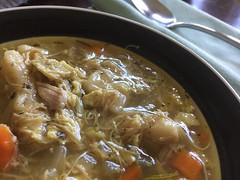 A Bowl of #Chicken and #Dumplings – A Classic #Southern #ComfortFood - h (SouthernBreeze) Tags: 2018 chicken dumplings food cooking southern bowl napkin shiny metal homemade vegetables