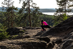 exercise on the top of Neulamäki hill 3 (VisitLakeland) Tags: exercise training wellness stretch finland nature view hill forest kuopio luonto venyttely treeni jumppa metsä