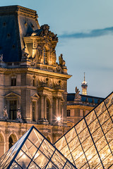 The Louvre hides the beautiful iron lady (Julien CHARLES photography) Tags: eiffel eiffeltower europe france louvre muséedulouvre paris pyramid pyramide capitale museum musée night nuit pyramidedulouvre