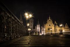 Gent By Night 2 (RigieNL) Tags: gent belgie belgium europe europa city cityscape night nightshot nightshots landscape le longexposure river bridge insta instagram purple sky sunset sundown pink