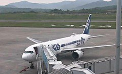 ANA All Nippon Boeing 767-300ER JA604A Star Wars R2-D2 BB-8 special livery Takamatsu Airport webcam capture (AirportWebcams.net) Tags: ana all nippon boeing 767300er ja604a star wars r2d2 bb8 special livery takamatsu airport webcam capture tak rjot
