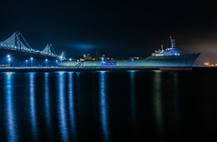 matson at pier 30 (pbo31) Tags: sanfrancisco city urban california night dark color april 2018 spring boury pbo31 nikon d810 southbeach embarcadero fog bay reflection baybridge ship container bridge 80 pier 30 blue matson sail shipping