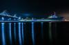 matson at pier 30 (pbo31) Tags: sanfrancisco city urban california night dark color april 2018 spring boury pbo31 nikon d810 southbeach embarcadero fog bay reflection baybridge ship container bridge 80 pier 30 blue matson sail shipping