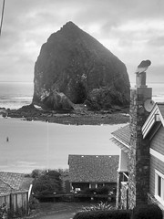 Cannon Beach Glimpse (~myfêtefête) Tags: nature monumental april 2018 vacation thegoonies oregon westcoast retreat people blackwhite bw water humanscale cannonbeach