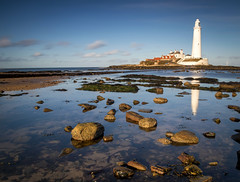 St Mary's Lighthouse 2 (RichySum77) Tags: canon sigma eos 80d seascape lighthouse clouds rocks sky blue water beach sand coast shore le reflection